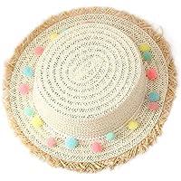 Outflower Sombrero de Paja de Bola de Felpa Colorida Sombrero Protector Solar Sombrero de Playa Sombrero de los Niños Plana Sombrero de Copa