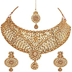 Apara Exquisite Bridal Gold Plated LCT Studded Necklace Set with Maang Tikka For Women