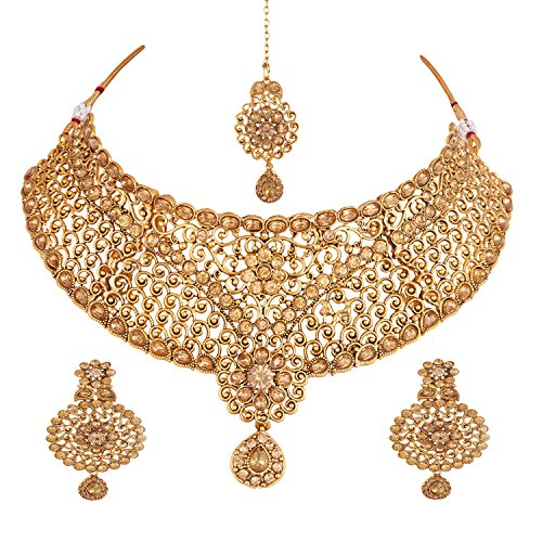 Apara Exquisite Bridal Gold Plated LCT Studded Necklace Set with Maang Tikka...