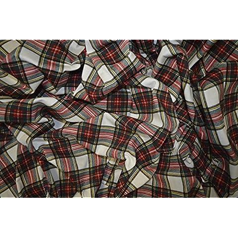 Tartan Stampa Su Bianco Cotone Elasticizzato Jersey Tessuto Maglietta Dress Peso