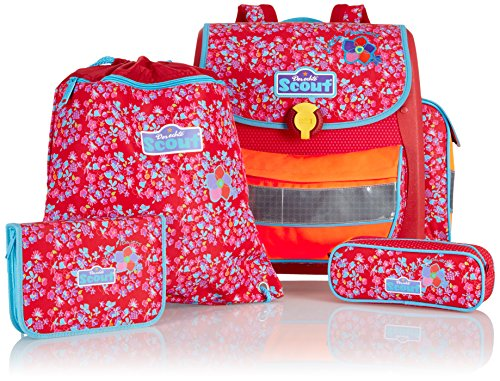 Scout Schulranzen-Set Basic Buddy Set 4 tlg Little Flowers 36 cm Rot 72400729000