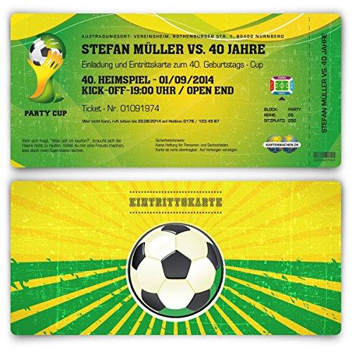 Einladungskarten zum Geburtstag (30 Stück) als WM Fussballticket Karte Ticket Fussball Einladung