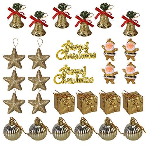 Oulii gold glitter jingle bells stars regali palle ornamenti merry christmas letter tag per albero di natale da parete ciondolo decorazioni confezione 26pcs