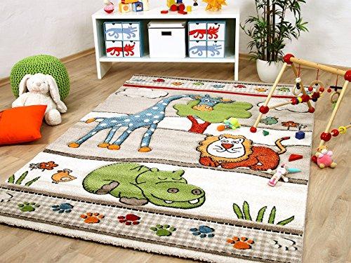 Kinder und Spiel Teppich Savona Kids Lustige Zoowelt Beige in 5 Größen -