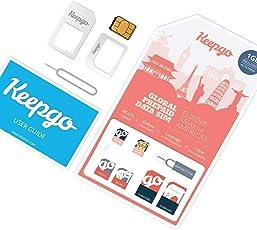 Keepgo - Internationale 4G LTE SIM-Karte - Europa - über 30 abgedeckte Länder - 1 GB Datenvolumen inklusive