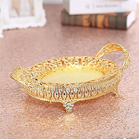 Crown Crystal Compote Centerpiece Decorative Bowl Plate 7.9 Inches Dia Round Serving Platter Dish with Gold Pedestal Vase Base Weddings Parties Tabletop Stand for Cakes Desserts Fruits Salad Candy