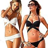 Damen Bikini-Sets gefaltet Streife Bademode Badeanzug / Push Up Bikini, Sexy Bademoden Set Schwarz-L ...