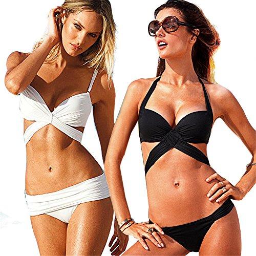 Damen Bikini-Sets gefaltet Streife Bademode Badeanzug / Push Up Bikini, Sexy Bademoden Set Schwarz-M ...