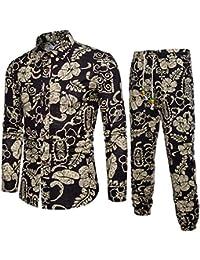 Goosuny Herren Herrenhose mit Gummibund Sommer Herbst Hemd Long Sleeved  Hawaiihemd Hawaiishirt Freizeithemd Urlaub Hawaii… e0ea66eceb