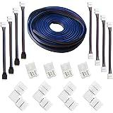 RUNCCI-YUN (5M) Cable de extensión de tira LED RGB de 4 clavijas, kits de conectores de tira LED, conectores en forma de L pa