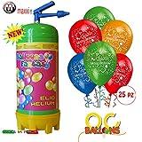 Bombola Elio per palloncini + Palloncini Compleanno 25pz OMAGGIO