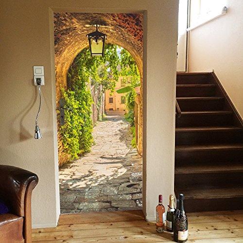 livingdecoration Papier Peint Porte Ruelle 86 x 200 cm Passage Rue Romantique Lanterne Photo Mural y Compris de la Colle Tableaux muraux déco