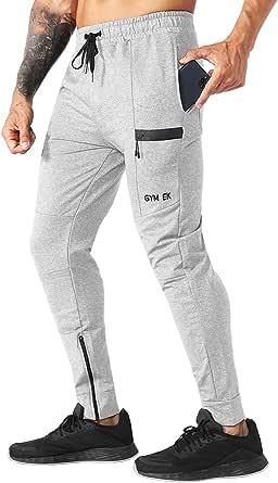 EK Mens Sidelock Gym Joggers,Tracksuit Bottoms Jogging Pants Skinny Trousers with Zipper Pockets