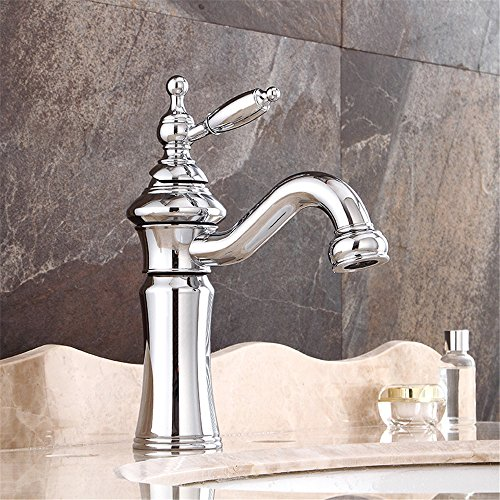 Waschbecken Einhebelmischer, chrom Bad Armatur europäischen Antik Kupfer Wasserhahn Silber