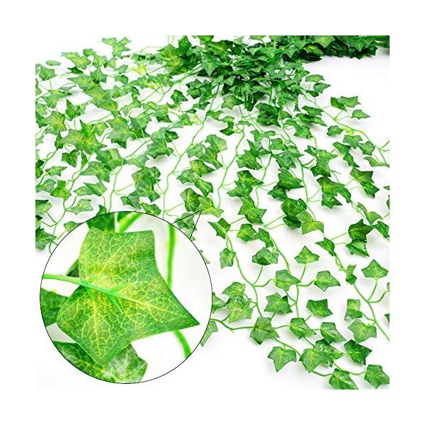 Skaine Plantas Hiedra Artificial Decoración Interior y Exterior 84ft-12 Guirnalda Hiedra Artificial De Hogar Boda Jardín…