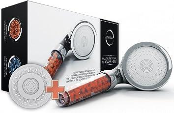 Der einzig wahre PRISMA® Premium Duschkopf - Wassersparende ECO Handbrause - Brausekopf mit Druckerhöhung für mehr Wasserdruck - Regendusche und Massage Funktion - Mit Kalkfilter und Ionenfilter