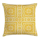 Yellow Mandala Throw Pillow Cushion Cover, Square Shaped Mandala Paisley Inspired Bohem Ethnic Traditional Retro, Decorative Square Accent Pillow Case, 18 X 18 inches, Yellow White