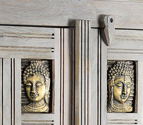 The Wood Times Kommode Highboard Schrank Massiv Vintage Look Buddha Mangoholz, FSC Reycelt, BxHxT 85x138x45 cm - 3