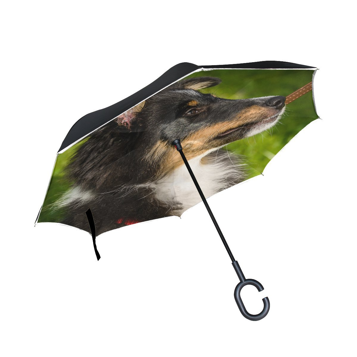 JOCHUAN Animal Dog Affenpinscher Blackandwhite Mix Fluffy Puppy Pet Inverted Umbrella Large Double Layer Outdoor Rain Sun Car Reversible Umbrella