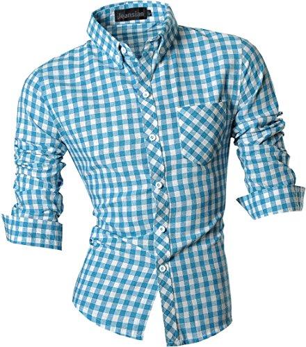 jeansian Herren Freizeit Hemden Shirt Tops Mode Langarmshirts Slim Fit 8523 Blue