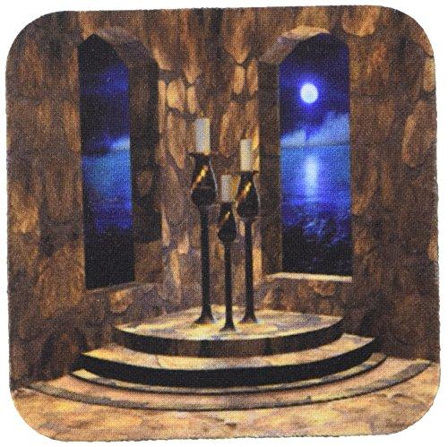 3dRose CST 11660_ 2Eine mittelalterliche Burg Innen mit Stein Wände, gewölbte Fenster und EIN Blick auf die Mondschein Sea Außerhalb Soft Untersetzer, Set von 8