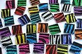 40 St. Glas Mosaiksteine Glitzer Zebra bunt 2x2cm ca.140g