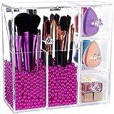 Lifewit Organizador de Maquillaje Transparente Pinceles Acrílico Con Bolitas de Color Rosa