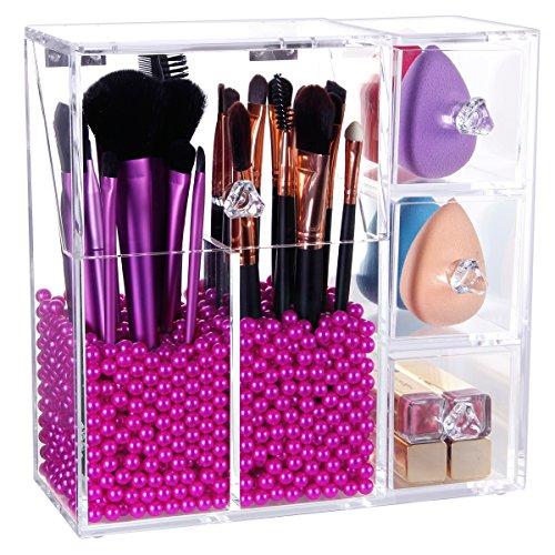 Lifewit Kosmetik Organizer Makeup Aufbewahrung Sortierkasten mit 3 Schubladen Acrylic Pinsel Aufbewahrung Kosmetikorganiser mit Deckel (Make-up Aufbewahrung Mit Schubladen)