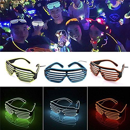 Aolvo LED-Licht bis Sun Brillen, EL Draht Glow bis Gläser Blink Sonnenbrille Rave Neon Light up Sonnenbrille mit 4Modi für Halloween Weihnachten Geburtstag Party Dekorationen Blau
