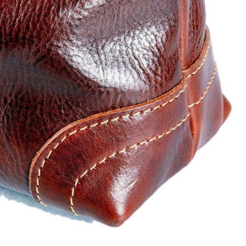 MICHELANGELO Fatto a mano in Vera Pelle Italia - Borsa Shopper Fiordaliso in Pelle 34x12 H32 cm Marrone