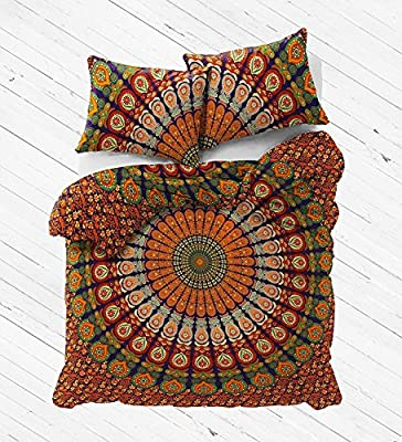 Queen Size Eephant Mandala Duvet Cover Throw Bedding Doona Cover Reversible Cotton Quilt Cover Indian Duvet Covers Set With 2 Pc Pillow Cover