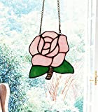 makenier Tiffany-Stil gebeizt Glas pink rose Fenster Aufhängen Sun Catcher