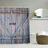 Shower Curtain, 72 X 72 Inch Bathroom Set with 12 Pcs Hooks (Barn Door - Wood Brown)