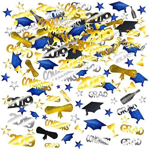 Howaf 2019 Abschlussfeier Konfetti, Kleiner Doktorhut Konfetti Promotion Geschenk Abschluss deko, 1500 Teile, Gold, Schwarz, Silber und Blau Congrats, Sterne, 2019, Diplom, Bachelor, Master
