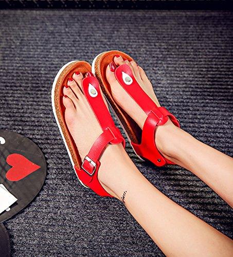 Unisex - Adulto Sughero Flip Flops Clip Toe Piatto Sandali Infradito Di Estate Con Cinturino Alla Caviglia Rosso