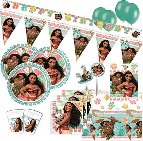 61 Teile Disney Vaiana Party Deko Set für 6-8 Kinder