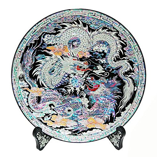 Assiette décorative Plateau circulaire en nacre marqueterie rond pour séjour ou intérieur Support en bois art déco avec motif couple de dragons