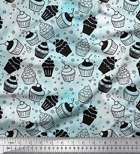 Soimoi Blau Baumwolljersey Stoff Kreis & Cupcakes Party Stoff Drucke Meter 58 Zoll breit