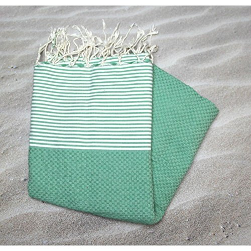 bbqplus Sansibar grün 100% Baumwolle Handtuch Fouta Hammam, 100cm x 200cm, ideal für den Strand, Bad, Schwimmen Handtuch + mehr. Wahrscheinlich das vielseitigste Handtuch, die Sie kaufen oder verschenken
