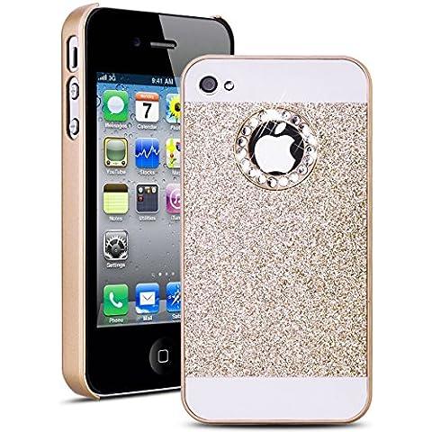 SMARTLEGEND Hard Case per Apple iPhone 4 iPhone 4S, Fashion Bella Cristallo Strass con Sparkle Scintillare Glitter Luccichio PC Duro Protective Diamond Custodia Cover, Ultra Sottile Rigida Copertina - Oro