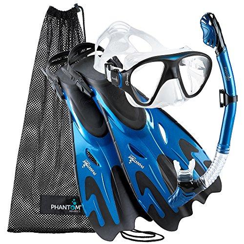 Phantom Aquatics Navigator Masque/palmes/tuba, Metal Blue