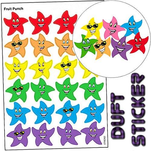 (German Trendseller 48 x Stern Smiley Sticker ┃ - Duft Mix - ┃ - Sticker mit Frucht - Mix Duft - ┃ Sticker Set für Kinder)