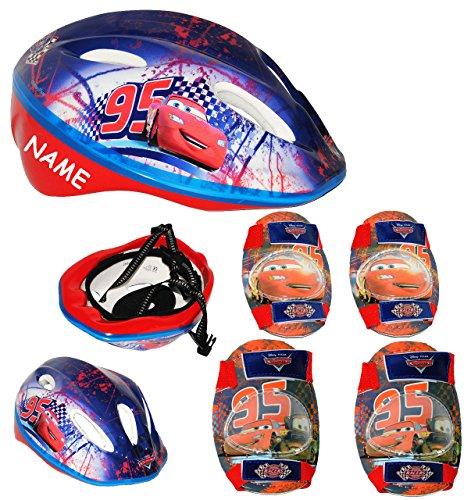 Set: Kinderhelm + Schützer - Disney Cars Lightning McQueen - incl. Name - Gr. 52 - 56 - circa 3 bis 15 Jahre - verstellbarer Helm - Auto - für Kinder Jungen /...