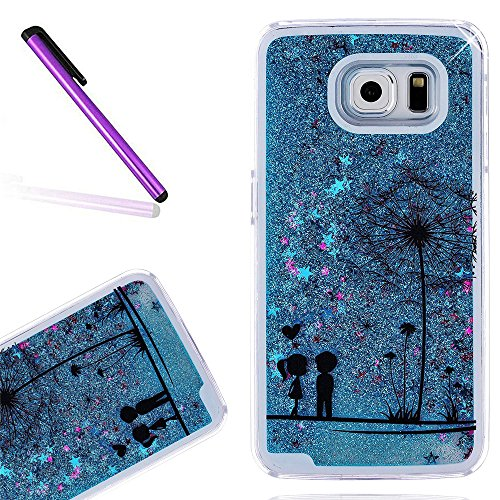 Samsung S8 Fall Samsung Galaxy S8 Slim Fit Transparente Abdeckung Newstars niedliche Tiere Flower Fairy Pusteblume Dreamcatcher bemalt Gemälde [3D Creative Design] [Flüssigkeit] Pailletten Floating Sterne Luxus Bling Glitzer Sparkle Herz Form Transparent Hard Quicksand Back Case Shell für GALAXY S8 2017 [+ 1 Stylus Touch Pen]. (Tiere Layered)
