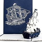 Carte pop-up Bateau de 4Master Bleu Blanc Navigation, cartes de Bateau, Voyage Bon d'achat, Gutschein Carte Maritime, vacances, 3D pop up carte de Bateau...