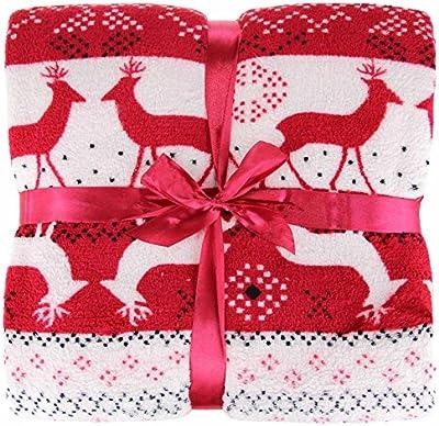 Textiles ideales, de navidad de lujo Throw nórdico, manta de lana, reno adecuados para sofá cama o una silla, 130 cm x 180 cm, Rojo, Negro