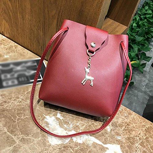 BZLine® Frauen Leder Crossbody Tasche kleine hirschschulter Taschen Geldbörse Handtasche Rot