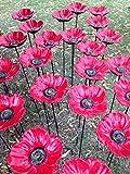 east2eden Cast Iron Red Poppy or Sunflower Garden Ornament Decoration Wild Bird Feeder Dish Bath (Set of 2 Poppy)