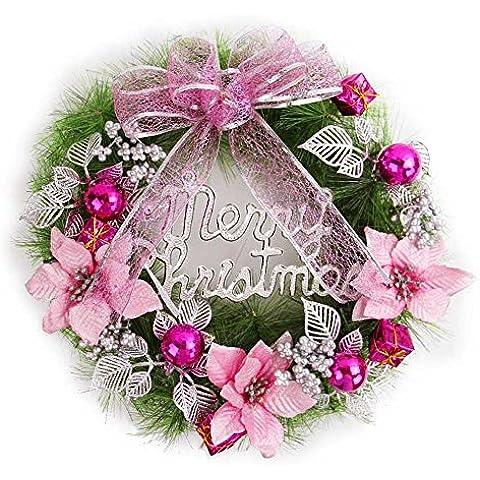 Decoración de Navidad Navidad Navidad Artificial?agujas de pino ratán adornos anillo rosa ?40cm