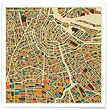 JUNIQE® Poster 20x20cm Amsterdam Stadtpläne - Design